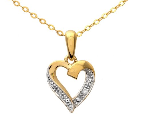 9ct Yellow Gold Diamond Heart Pendant and Chain of 46cm