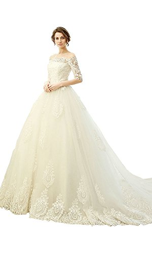 Bridess Women's Tulle Lace court Train Wedding Dresses With Sleeves Ivory US10