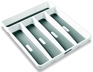 """Madesmart Cutlery Tray Plastic 13"""" X 11"""" X 2.3"""" White With Gray"""
