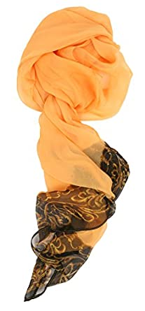 LibbySue-Floral & Graphic Print Silk Blend, Oblong Scarf in Dramatic Colors (Baroque Gold 1529)