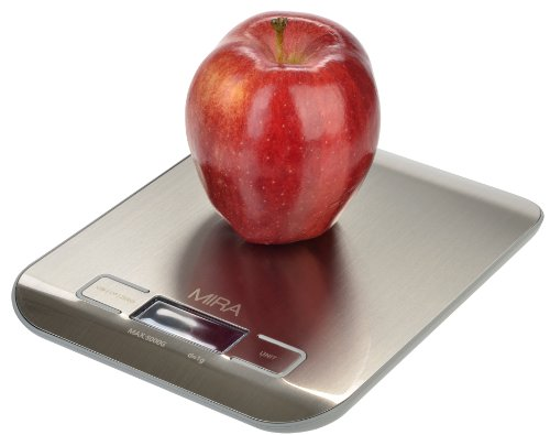 Mira Compact Digital Kitchen Scale, Stainless Steel, With Bright Display