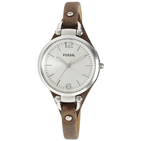 The round face of this watch is boyfriend-inspired, but the slim leather strap makes it perfectly feminine. This Georgia watch also features a three hand movement. Case Size: 32mmCase Thickness: 8mmBand Width: 8mmWater Resistant: 5 ATMWarranty: 11-ye...