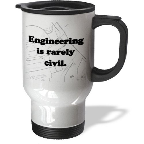 3Drose Engineering Is Rarely Civil Civil Engineer Travel Mug, 14-Ounce, Stainless Steel