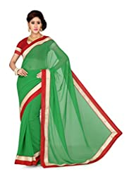 De Marca Green Art Silk Designer G-342 Saree