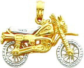 14k Two Tone Gold 3 D Moveable Dirt Bike Pendant Jewelry