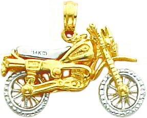 14K Two Tone Gold 3-D Moveable Dirt Bike Pendant