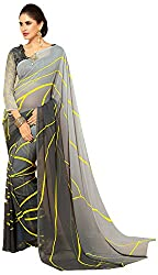 Lizel Fashion Women's Georgette Saree (Unique Grey , Grey)