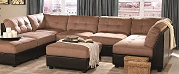 Sectional Sofa with Button Tufted Design Brown Microfiber