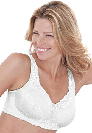 Comfort Choice Plus Size Bra In Lace And Deluster With Patented Sidewire (White,40 D)