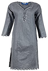 Fashion Web Women's Cotton Regular Fit Kurta (Grey, X-Large)