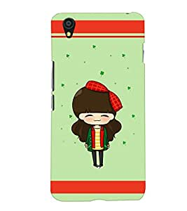 PrintVisa Cute Cartoon Art Print & Pattern Girl 3D Hard Polycarbonate Designer Back Case Cover for One Plus X