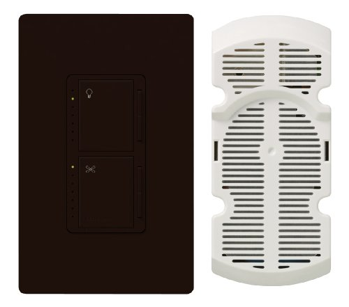 Lutron MA-LFQHW-BR Maestro 300-Watt Single-Pole Digital Dimmer 1-Amp Quiet 7-Speed Fan Control with Wall plate, Brown
