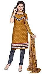 Khushali Presents Crepe Dress Material (Mustard,Grey)