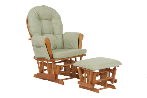 Why Choose Stork Craft Hoop Glider and Ottoman Set, Oak/Sage