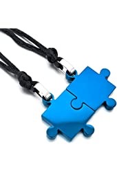 Men,Women's 2PCS Stainless Steel Pendant Necklace Blue Jigsaw Puzzle Valentine Adjustable