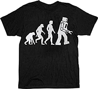 The Big Bang Theory Robot Evolution Black T-shirt Tee (Small)