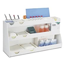 "TrippNT 50014 White PVC Plastic Deluxe BenchBooster Workstation, 17 Compartments, 24"" Width x 12"" Height x 8.25"" Depth"