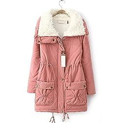 Women's Stylish Slim Fit Cotton Padded Fur Woolen Zip Jacket Coat Smart Pockets