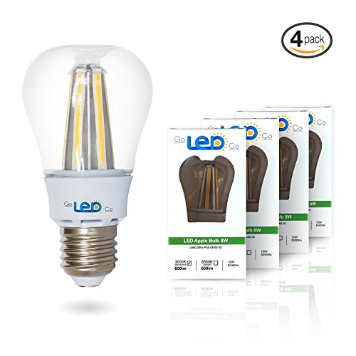 Led Light Bulbs for Home 60 watt Equivalent 8 Watt lights A19 Brightest Bulb Energy Star Soft White Glow Lighting 3000K 810 Lumens 2 Year Warranty 4-Pack (Kenmore Oven Filament compare prices)
