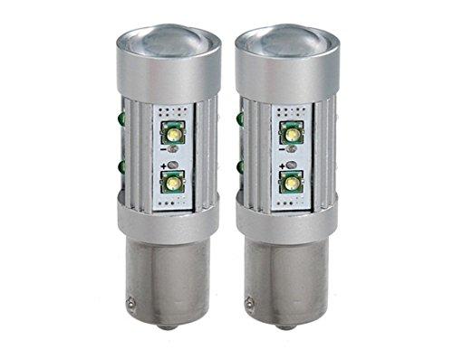1156 12V 30W Diy 10Xcree White Light Led Turn Signal Light 2Pc Set (Silver)