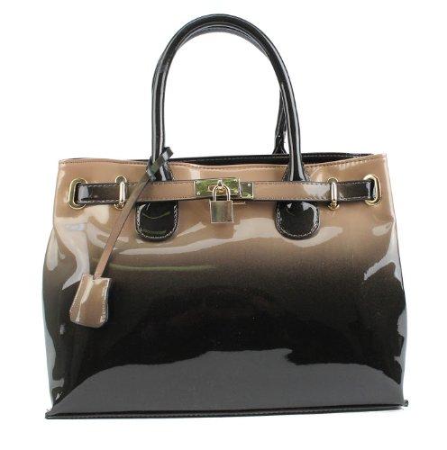 Scarleton Patent faux leather satchel H1167