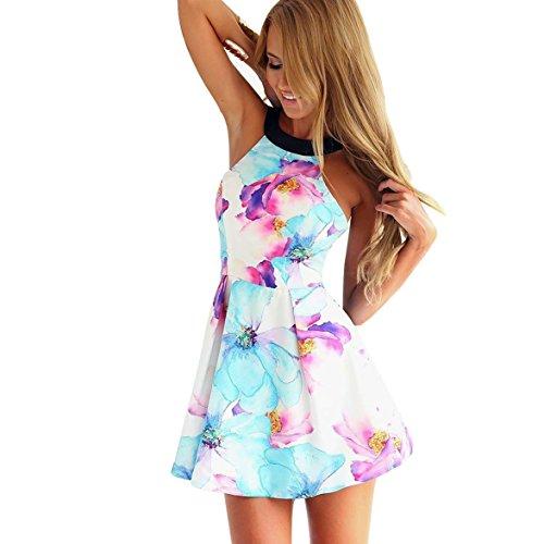 Flymall Flora Print Halter Neck Fit and Flare Dress Mini Dress (CN S)