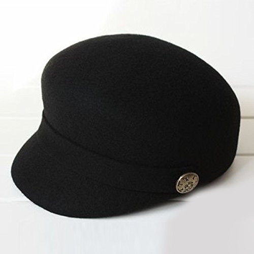 Fairy Season Fashion Stylish Women'S Horse Riding Hats Equestrian Lady Wool Stewardess Office Beret Cap Black