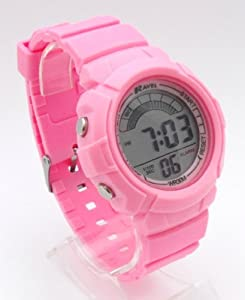 Ravel Ladies Digital LCD Chronograph Sports Watch - Gift Boxed - Multi Functional- 15-22cm Strap - 3ATM - Pink
