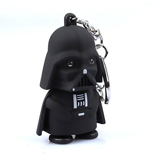 Black Knight Darth Vader Cartoon LED Keychain with Sound Key Ring Pendant Toy