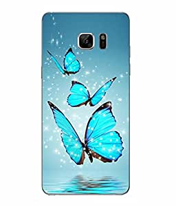 Snazzy Butterfly Printed Blue Hard Back Cover For Samsung Galaxy Note 7