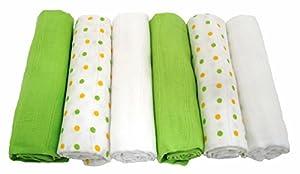 Muslinz - Paños de muselina (6 unidades), color verde por Muslinz