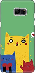 The Racoon Grip printed designer hard back mobile phone case cover for Samsung Galaxy Note 7. (Happy Cats)