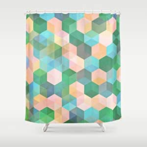 Society6 child 39 s play hexagon pattern in mint green pink shower curtain by - Mint green kitchen curtains ...