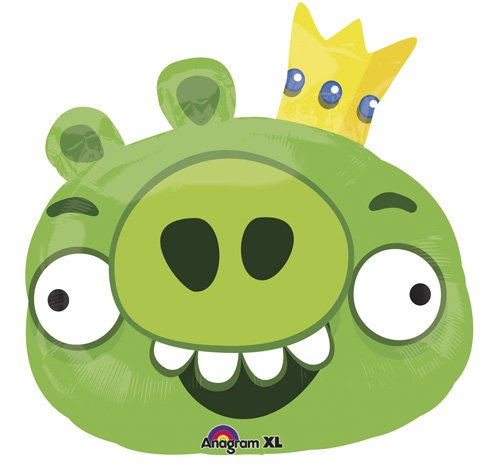 "Single Source Party Supplies - 23"" Angry Birds Green Pig Shape Mylar Foil Balloon - 1"