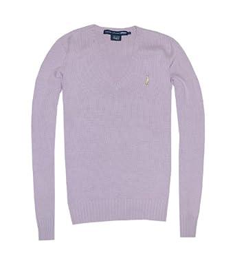 Ralph Lauren Sport Women V-Neck Pony Logo Sweater Pullover (M, Light purple)
