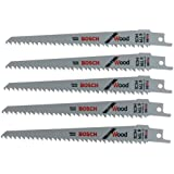 Bosch RW66 6-Inch 6 TPI Wood Cutting reciprocating Saw Blades - 5 Pack