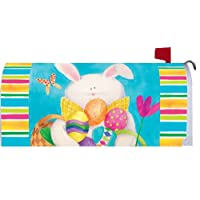 Bunny & Stripes Easter 1915MM Magnetic Mailbox Cover Wrap