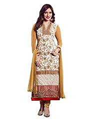 DIVISHA FASHIONS WHITE AND BEIGE FAUX GEORGETTE DRESS MATERIAL WITH DUPATTA