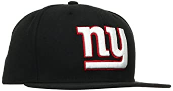 NFL New York Giants Black and Team Color 59Fifty Fitted Cap, Black/Black, 6 7/8
