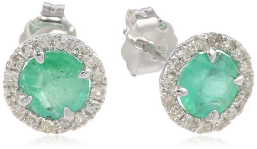 14k White Gold Emerald and Diamond Halo Stud Earrings (1.20 cttw, H-I Color, I1-I2 Clarity)