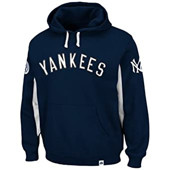 Majestic Mens New York Yankees Fleece Pullover Hooded Sweatshirt, Big & Tall by Majestic