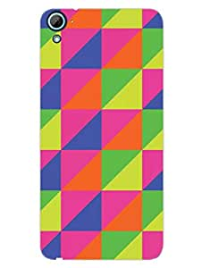 HTC Desire 826 Back Cover - Colorful - Triangles Of Toned Color - Designer Printed Hard Shell Case