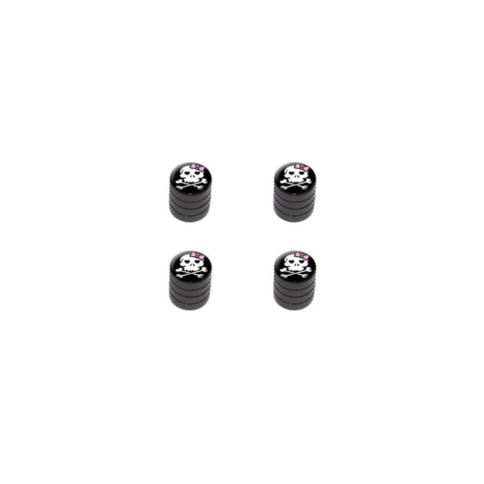 Girly Skull And Crossbones Tire Rim Wheel Aluminum Valve Stem Caps   Black Color