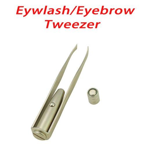 Led Flash Light Eyelash Eyebrow Tweezer Pluck For Woman Make Up-Silvery