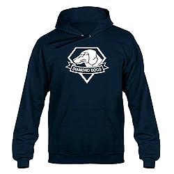 Diamond Dogs, Metal Gear Solid Inspired, Men's, Unisex, Hoodie, Hoody, Hooded Sweater, Navy Blue,