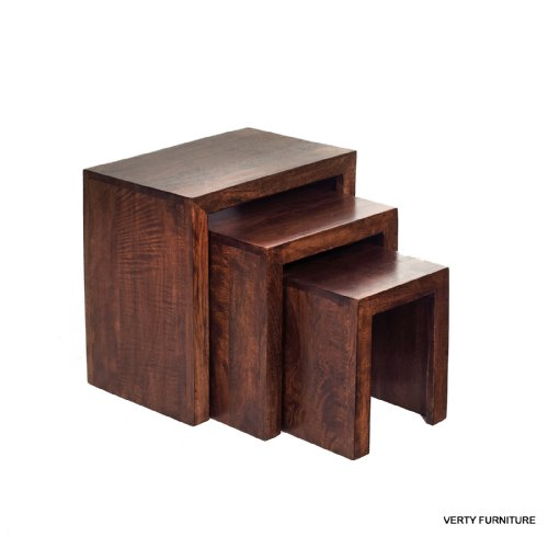 MANGO HARDWOOD SOLID NEST OF 3 TABLES INDIAN FURNITURE
