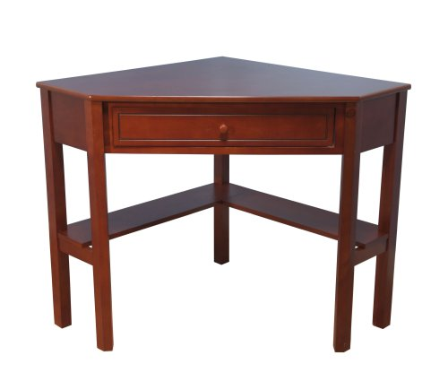 Target Marketing Systems Wood Corner Desk with One Drawer and One Storage Shelf, Cherry Finish (Small Glass Desk With Drawers compare prices)