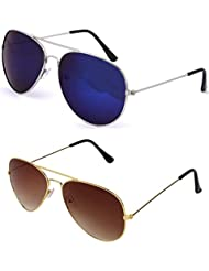 SHEOMY SUNGLASSES COMBO - SILVER BLUE MERCURY AVIATOR SUNGLASSES AND AVIATOR GOLDEN BROWN SUNGLASSES WITH 2 BOXES...