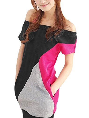 Allegra K Women Boat Neck Short Sleeve Color Block Tee Shirts