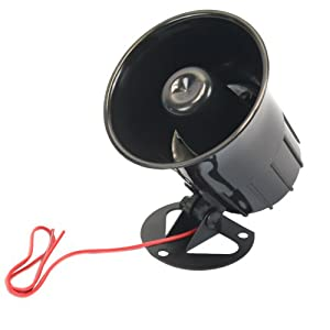 Olymstore DC 6-12V 15W Super Power Electronic Wired Car Security Siren Horn Loud Speaker Alarm Black
